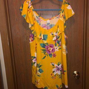 NWT Old Navy 3x Tropical Ruffle Sleeveless Shirt